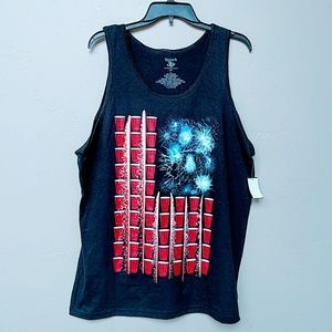 Other - Americana Red Party Cups & Fireworks Tank Top L
